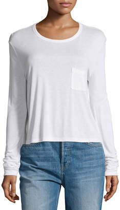 Alexander Wang Classic Cropped Long-Sleeve Tee, White