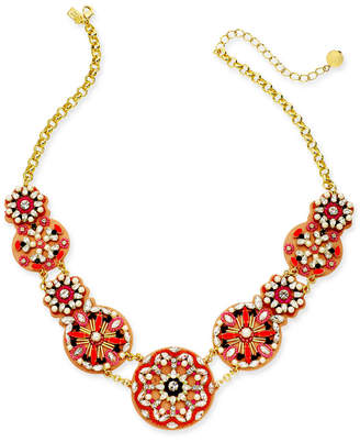 "Kate Spade Gold-Tone Multi-Stone, Bead, Imitation Pearl & Leather Statement Necklace, 18"" + 3"" extender"