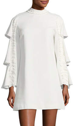 Alexis Marianne Tiered Bell-Sleeve Crepe Dress w/ Ruffled Trim
