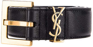 Saint Laurent Mongramme Leather Belt in Black | FWRD
