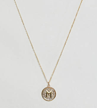 Ottoman Hands gold plated M initial pendant necklace