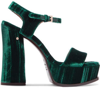 Laurence Dacade Perla Crushed-velvet Platform Sandals - Emerald