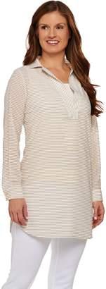 C. Wonder Long Sleeve Split V-neck Sheer Striped Tunic