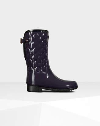 Hunter women's original refined short quilted gloss wellington boots