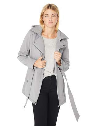 BCBGeneration Women's Soft Shell Asymmetrical Zip Belted Coat with Hood, MED