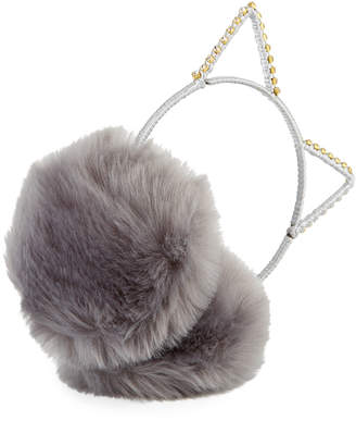 Neiman Marcus Cat Ear Crystal Faux-Fur Earmuffs, Gray