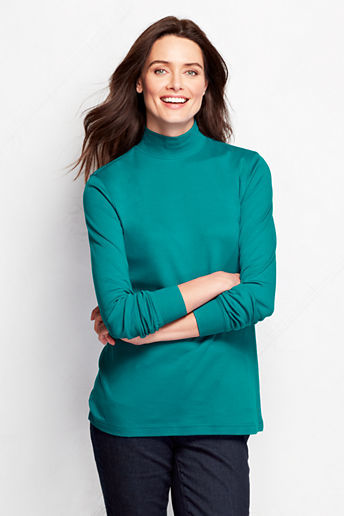 Lands' End Women's Petite Long Sleeve Relaxed Cotton Mock Turtleneck