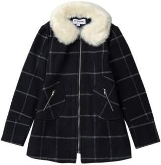 Coffee Shop Windowpane Faux Fur Collar Jacket (Big Girls)