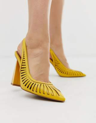 Asos Design DESIGN Pascha cut out sling back high heels in yellow
