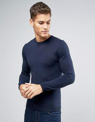 Asos DESIGN Muscle Fit Cotton Crew Neck Sweater in Navy