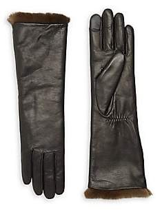Agnelle Women's Carole Rabbit Fur-Lined Leather Gloves