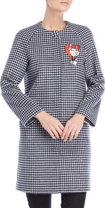 Love Moschino Gingham Single-Breasted Wool Coat