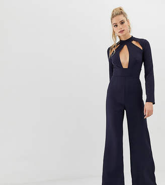Missguided Tall key hole kimono sleeve jumpsuit in navy