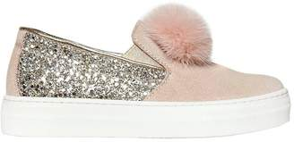 Ermanno Scervino Glittered Leather & Suede Sneakers