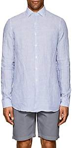 Piattelli MEN'S STRIPED LINEN SHORT-SLEEVE SHIRT - BLUE SIZE L