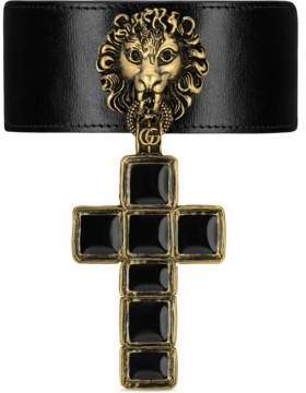 Gucci Leather choker with cross pendant