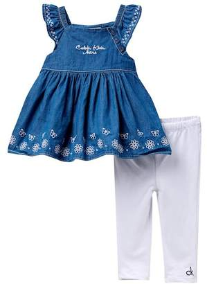Calvin Klein Embroidered Denim Tunic & Leggings Set (Baby Girls)