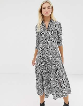 Glamorous midi shirt dress in ditsy floral