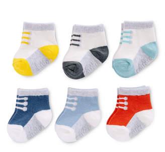 Carter's Sneaker Print 6 Pack Crew Cut Socks - Baby Boy