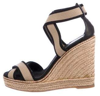 1a04f8f90ad92 Tory Burch Black Covered Wedge Women s Sandals - ShopStyle