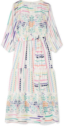 Vilshenko Adelaide Printed Silk-jacquard Midi Dress - Ivory