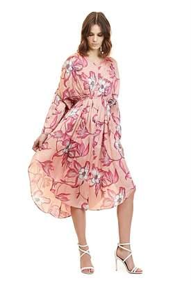 Country Road Print Full Sleeve V-Neck Dress