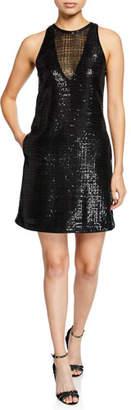 Emporio Armani Sleeveless Micro-Paillettes Shift Dress w/ Pockets