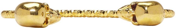Alexander McQueenAlexander McQueen Gold Twin Skull Bracelet