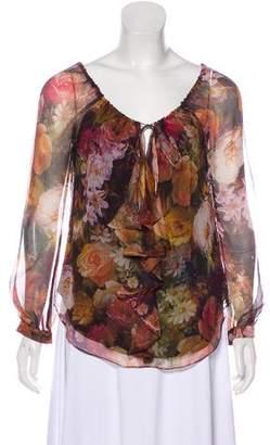 Haute Hippie Silk Printed Long Sleeve Blouse