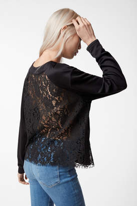 Laissez Lace Long Sleeve Top In Black