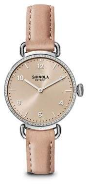 Shinola The Canfield Diamond, Stainless Steel& Leather Strap Watch