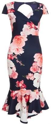 Quiz Womens *Quiz Blue Fishtail Midi Dress