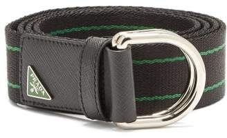Prada Canvas And Leather Belt - Mens - Black Green