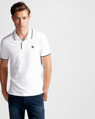 Express Solid Tipped Small Lion Stretch Pique Polo