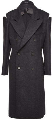 Maison Margiela Wool-Blend Coat with Zipped Shoulders