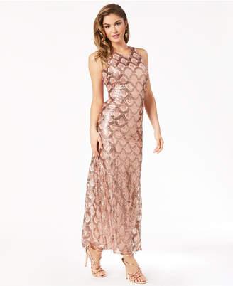 Morgan & Company Juniors' Deco Sequined Cross-Back Gown