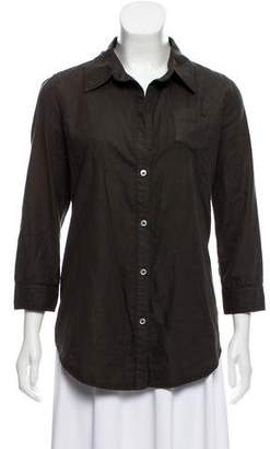 Elizabeth and James Pointed Collar Button-Up Top