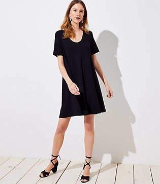 LOFT Petite Short Sleeve Swing Dress