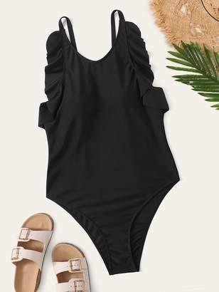 Shein Plus Lettuce Trim One Piece Swimwear