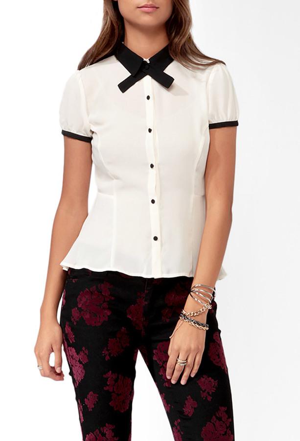 Forever 21 Contrast Peplum Shirt w/ Neckerchief
