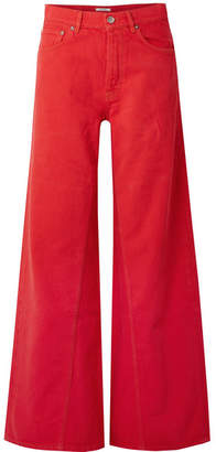 Ganni High-rise Wide-leg Jeans - Red