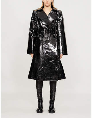 Gareth Pugh Padded-shoulder PVC trench coat