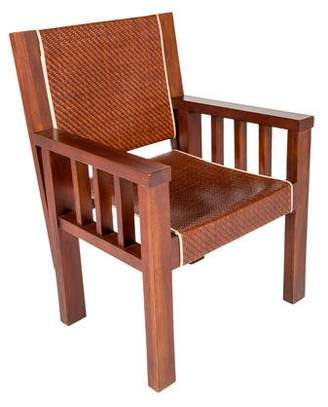 Polo Ralph Lauren Mahogany & Woven Leather Armchair