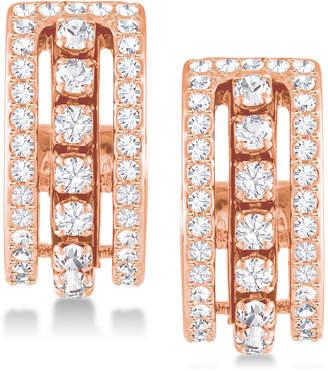 """Swarovski Rose Gold-Tone Crystal Triple-Row 1/2"""" Hoop Earrings"""
