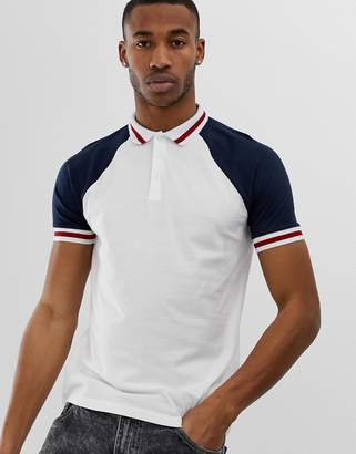 fee3125b861 Asos Design DESIGN organic raglan polo shirt with contrast sleeves and  tipping in white