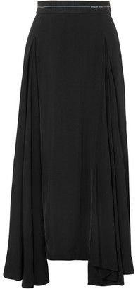 Prada Asymmetric Pleated Satin Midi Skirt - Black