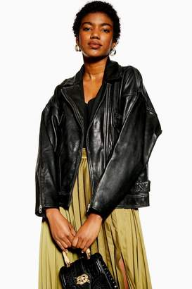 Topshop Oversized Leather Biker Jacket