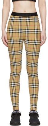 Burberry Beige Vintage Check Logo Leggings