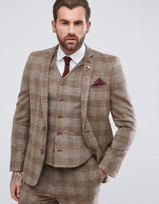 Asos DESIGN Wedding Skinny Suit Jacket In Camel Wool Mix Plaid Check