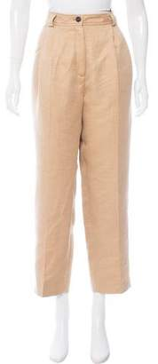 Trussardi Linen-Blend High-Rise Pants w/ Tags